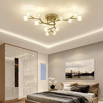 Moderno LED Lámpara de techo Oro mate Metal y Vaso Flor ...