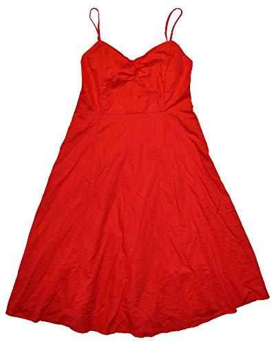 GAP Womens Red Cami Smock Back Linen Blend Lined Sun Dress 6