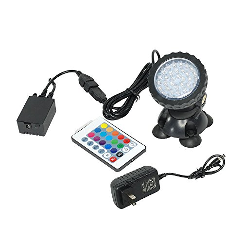 i-mesh-bean Set of 1/2 / 4 Colorful Underwater Garden Fountain Fish Tank Pool Pond Spot Light Submersible Decoration Color Changing Lamp + 24 Key Remote USA (Set of 1) by i-mesh-bean