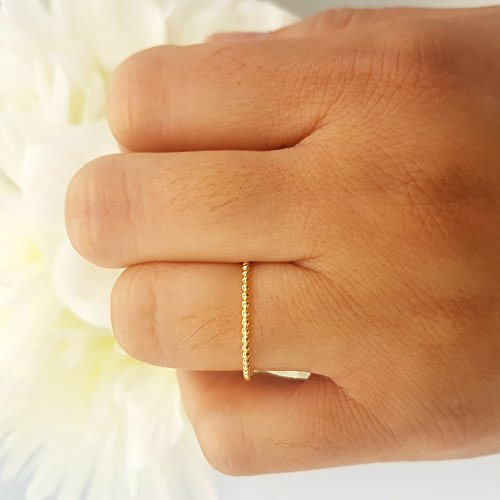 14K Yellow Gold Beaded Style Ladies Ball Chain Design Wedding Band (Size 8) by DazzlingRock Collection (Image #6)