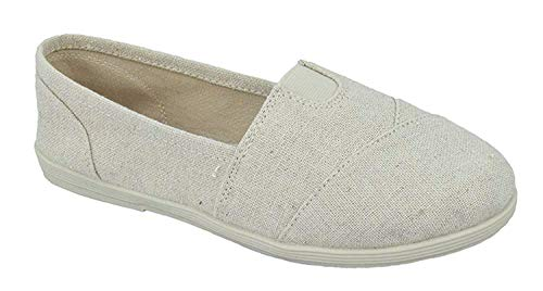 SODA Shoes Women's Obji Rnd Toe Casual Flat with Padded Insole (8.5 B(M) US, Beige Linen)