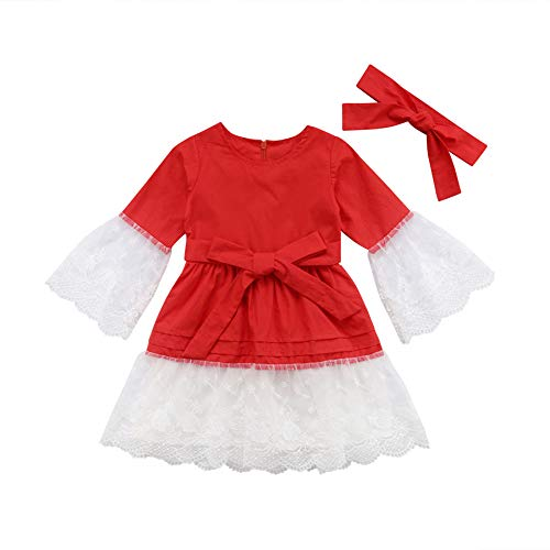 (Baby Girls Lace Embroidered Long Sleeve Dress Ruffled Causal Skirt with Headband Tutu Set (Red,)
