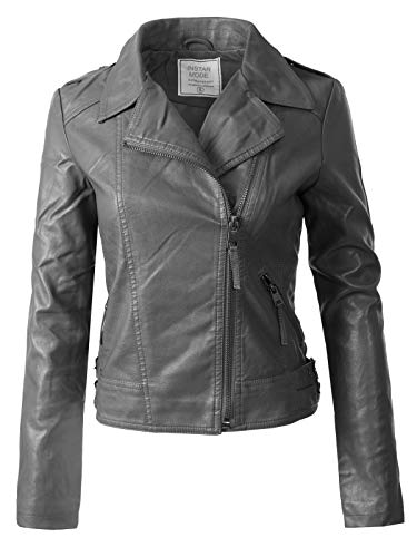 Instar Mode Women's Long Sleeves Asymmetrical Zipper Closure Biker Faux Leather Jacket Charcoal M (Gray Leather Jacket)