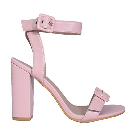 LAW Shoes & Clothing Womens Ladies High Heel Chunky Block Party Sandal Buckle Strappy Shoe Size Pink Patent zcM1C3z