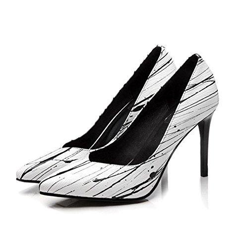 Arbeit Mode Wies Neue Leder Mund Stiletto Frühling Flache Tinte Schuhe Lederschuhe Muster SSW8pqw5R