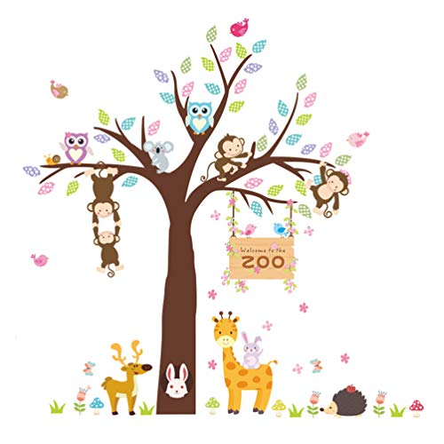 ElecMotive Forest Animal Giraffe Monkey Owls Hedgehog Rabbit Tree Nursery Wall Stickers Wall Murals DIY Posters Vinyl Removable Art Wall Decals for Kids Girls Room Decoration (Zoo) (Kids Wall Sticker Zoo)