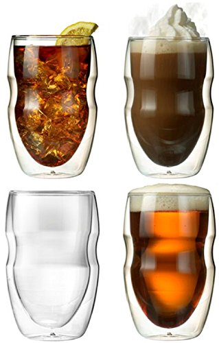 Serafino Double Wall 12 oz Beverage & Coffee Glasses - Set of 4 Insulated Drinking Glasses