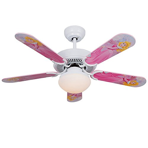 Andersonlight 42 inch LED Cartoon Child White Ceiling Fan Light 5 Fan Wood Blade 1 Light Remote Control Variable Speed Motor Scrub Glass Lamp Cover Modern Quiet Health for Baby Room Children Room by Andersonlight