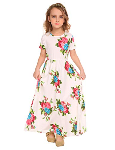 Arshiner Girls Maxi Dress Short Sleeve Floral Print Pleated Long Dresses White ()