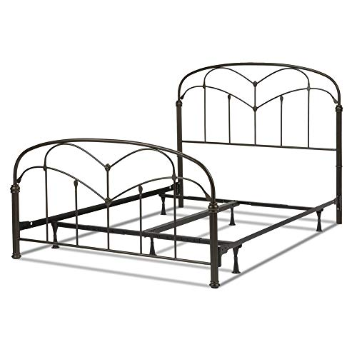 Fashion Bed Group Pomona Complete Metal Bed and Steel Support Frame with Curved Grills and Detailed Posts, Hazelnut Finish, Full