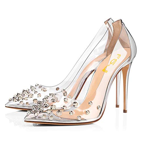 FSJ Women Studded Pointed Toe Transparent Pumps High Heels Shoes with Cute Bowknot Size 9 Silver-3