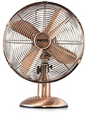 Save on Pifco P40004C Portable 12 Inch Oscillating Desk Fan with Adjustable Tilt Angle, 4 Metal Blades, 3 Speed Settings, Carry Handle, Cooper and more