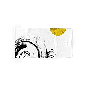 Kenny Abstract Painting Modern Minimal Gold Black and White Space Out Space Art 4 (2 Hand Towels, 2 Bath Towels)