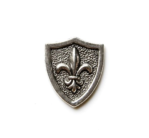 Quality Handcrafts Guaranteed Fleur de Lis Shield Lapel Pin