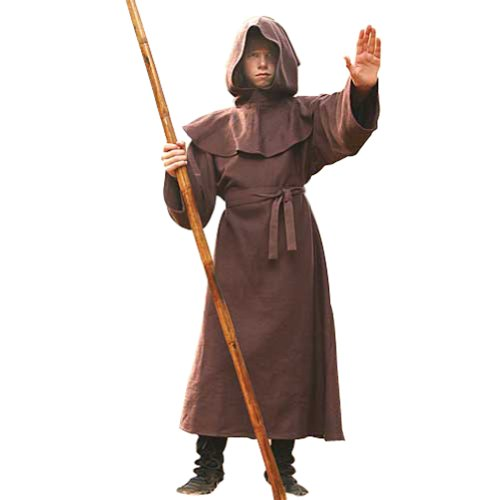 [Monk's Robe for Children - Halloween Costumes - Wizard, Priest, Mage, Cleric Robe] (Brown Monk Robe Costume)