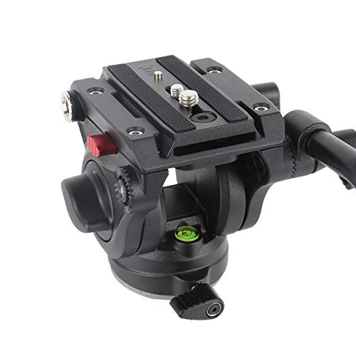 Avella V501 Video Camera Tripod Fluid Drag Pan Head for Canon Nikon Sony Olympus Panasonic DSLR Camera,Tripods with 3/8