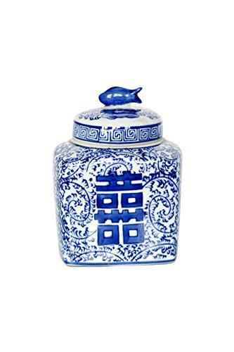 Ceramic Vintage Porcelain (Vagabond Vintage Small Hand Painted Blue and White Ceramic Temple Jar with Lid)