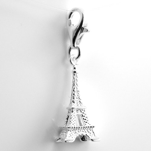 """Pro Jewelry .925 Sterling Silver Dangling """"Eiffel Tower"""" Clip on Pendant Charm for Bracelet or Necklace ECH JB 2874 2679"""
