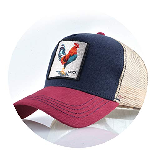 Sports Hat Embroidery Cock Baseball Caps Men Hip Hop Cap Breathable Meshcaps Unisex Sun Hats,Red and Blue -