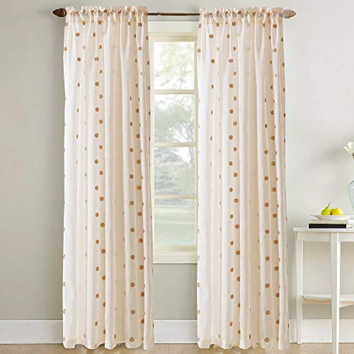 - Amrapur Overseas Sheer Textured Metallic Dots Curtain Set of 2, Rose Gold