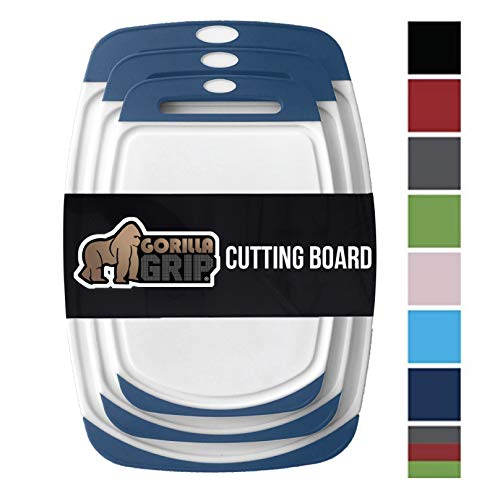 GORILLA GRIP Original Reversible Cutting Board (3-Piece), BPA Free, Dishwasher Safe, Juice Grooves, Larger Thicker Boards, Easy Grip Handle, Non-Porous, Extra Large, Kitchen (Set of Three: Blue)
