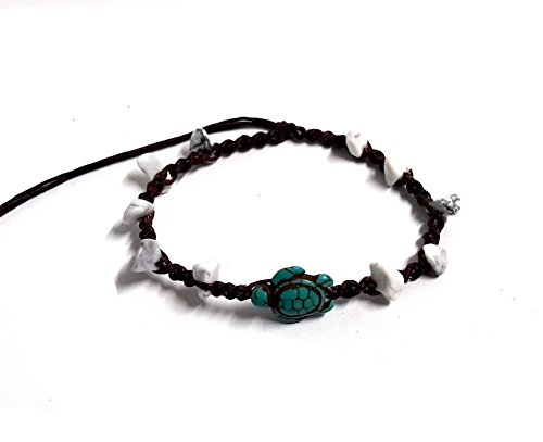 Turtle Turquoise Color Stone Color Bead Anklet or Bracelet Handmade for Women Teens and Girls (Belly Dance Costumes For Teenagers)