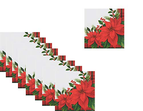 Christmas Holiday Disposable Lunch Paper Napkins - 80 Napkins Total - Poinsettia Plaid (Paper Direct Christmas)