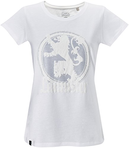 GOZOO Game of Thrones Camiseta Mujer Winds Of Winter - House Lannister Blanco
