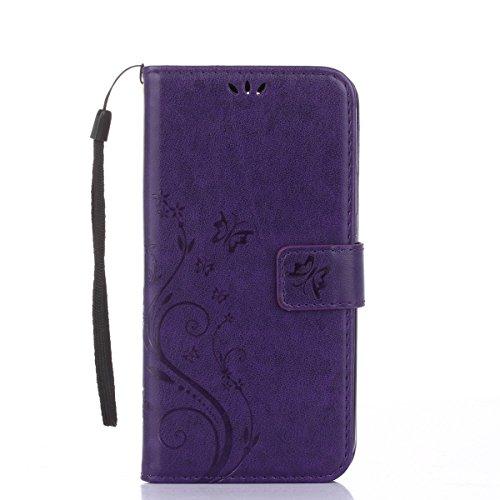 Funda Galaxy J5 prime,SainCat Funda de cuero sintético tipo billetera con correa de cordón de Suave PU Carcasa Con Tapa y Cartera,Carcasa de Cuero Suave Leather Impresión de Flor y Mariposa Soporte Pl púrpura