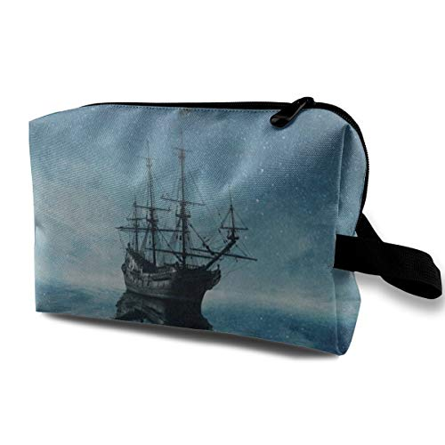 Makeup Bag Ghost Pirate Ship Starry Night Ocean Sea Handy Travel Multifunction Travel Bags Personalized Organizer For -