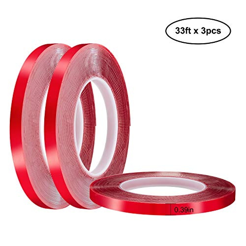 Jackwood 33 Feet Acrylic Double Sided Heavy Duty Mounting Tape (Pack of 3) Weatherproof for Outdoor & Indoor, Holds Heavy Stuff in Cold & Hot Condition, Removable & Residue-Free (0.39inch)