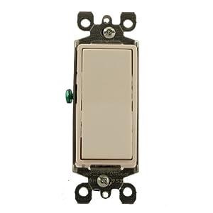 Leviton 5611-2W 15 Amp, 120/277 Volt, Decora Rocker Lighted Handle, Illuminated Off Single-Pole AC Quiet Switch, Residential Grade, Grounding, White