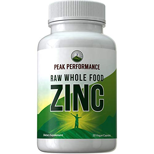 Raw Whole Food Best Zinc Supplement by Peak Performance. Raw Vegan Zinc Vitamin Capsules, Vitamin C, and Over 25 Organic Fruit and Vegetable Ingredients. Pills