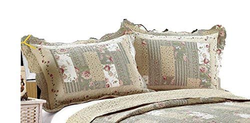 - ALL FOR YOU 2-Piece Embroidered Quilted Pillow Shams-Standard Size (sage Green Patchwork Prints)