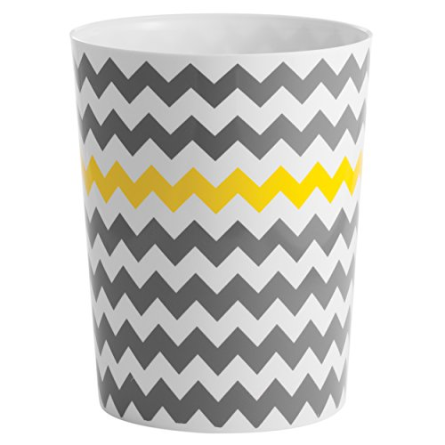 mDesign Chevron Wastebasket Trash Can - Gray/Yellow (Yellow Trash Can For Bedroom)