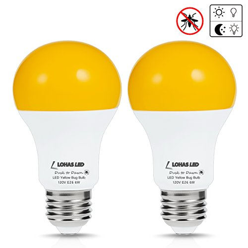 ht Bulb with Dusk to Dawn Light Sensor, A19 LED Bulb, 40W Equivalent Bug Bulb, 6W E26 Amber LED, 500 LM, 110V-130V, Indoor/Outdoor Automatic Security for Home Lighting, Pack of 2 (Yellow Incandescent Light Bulb)