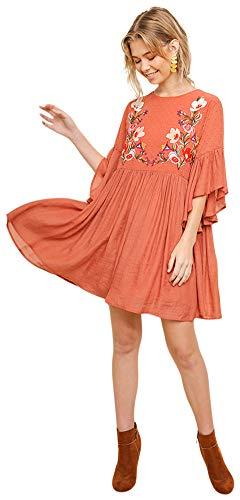 Umgee Boho Bliss! Embroidered Bodice Bell Sleeve Babydoll Dress (Medium, -