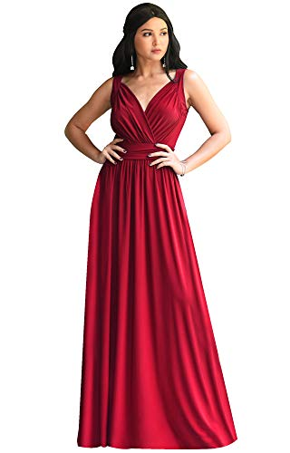 KOH KOH Womens Long Sleeveless Flowy Bridesmaids Cocktail Party Evening Formal Sexy Summer Wedding Guest Ball Prom Gown Gowns Maxi Dress Dresses, Red M 8-10