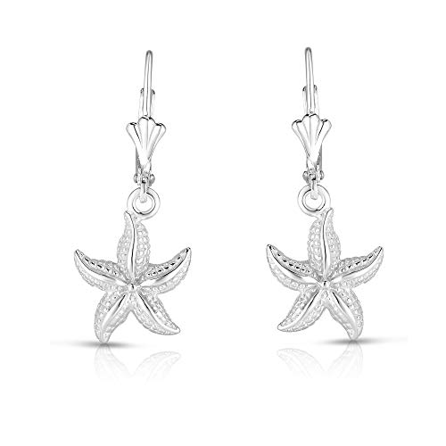 Unique Royal Jewelry 925 Solid Sterling Silver Star Fish French-Wire-Clip Drop Dangling Designer Earrings. (Rhodium-Plated Sterling Silver)