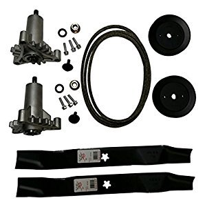 Mower Kit (Mr mower parts deck rebuild kit for craftsman poulan Husqvarna included 2 heavy duty spindles 130794, 2 mulcher blades 134149, 2 pulleys 173436, deck belt 144959 95