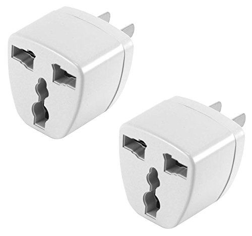 Cellet USA, Canada, Mexico, Japan Travel Plug Power Adapter - Round Pin (EU/UK/Korea/China/AU) to Flat (USA) Pin, 2 Pack, White