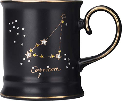 CAPRICORN MUG - Remarkably Beautiful Collectable 14 oz Zodiac Mug with SWAROVSKI Crystals. Gift Box and Licensed Swarovski Certificate included - Great Gift Idea
