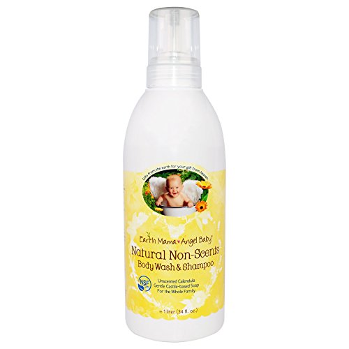 Earth Mama Angel Baby, Natural Non-Scents Shampoo & Body Wash, Unscented Calendula, 34 fl oz (1 L) - 3PC by Earth Mama Angel Baby