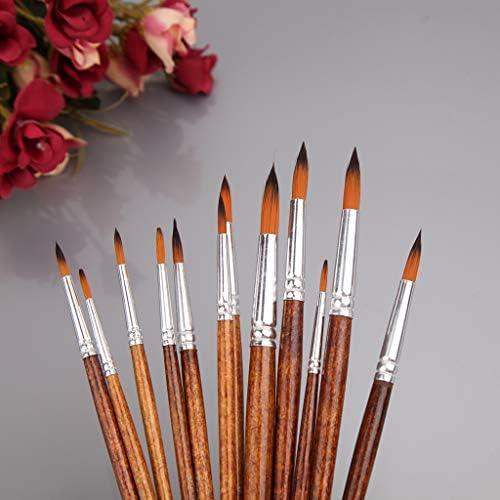 Yinuneronsty 12Pcs Artistes Pinceau Ensemble Nylon Cheveux Acrylique Aquarelle Rond Pointe Pointue