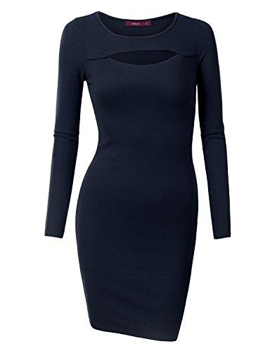 Doublju Women Long Sleeve Round Neck Girlish Comfy Midi Dress NAVY,2XL (Cheap 80s Dresses)