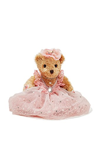"Bride Teddy Bear in Pink Dress Wedding Stuffed Animal Soft Plush Sitting Toys 8"" (#1)"