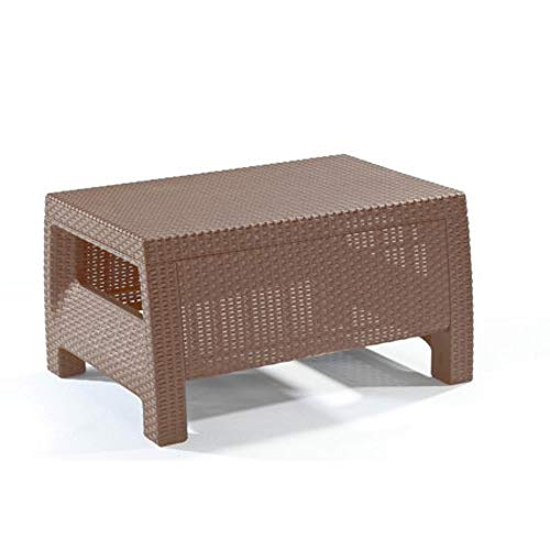 Outdoor Coffee Table Patio Furniture Resin Plastic Material Ratan Style Weatherpoof Brown by Easy&FunDeals