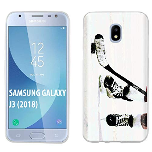 [Mobiflare] Samsung Galaxy J3 2018/Amp Prime 3/Express Prime 3/Achieve/Star/J338 Ultraflex Thin Gel Phone Cover [Hockey Game Print]