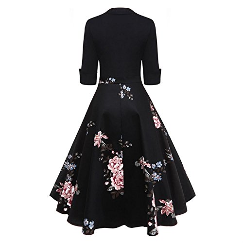 Amazon.com: CiuCoo Vintage Women Floral Flare Midi Dresses Retro Elegant Dress Vestidos Femme: Clothing