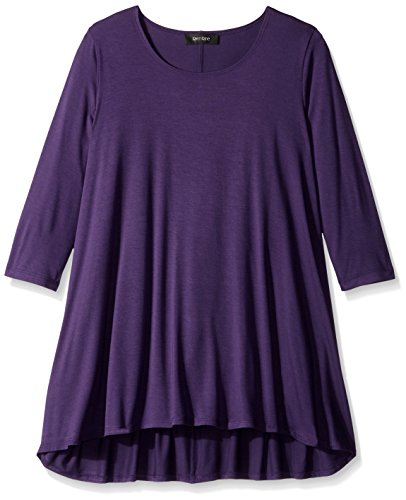 Karen Kane Women's Plus-Size 3/4 Sleeve Hi-Lo Tunic, Purple, 0X